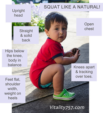 Toddler squatting in perfect form